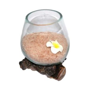 """Vase artisanal sur racine teck en verre soufflé et sels de bains """"Fait main à Bali"""""""
