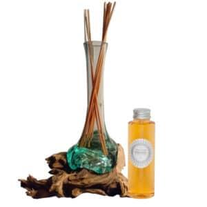 """Diffuseur de parfum d'ambiance en verre soufflé sur bois """"Fait main à Bali"""""""