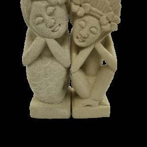 Statuette couple amoureux pierre blanche de Bali